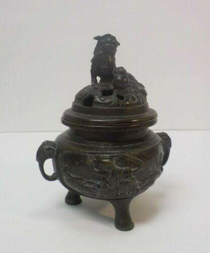 Vintage Chinese Bronze Censer / Incense Burner, Foo Dog/Lion on Lid