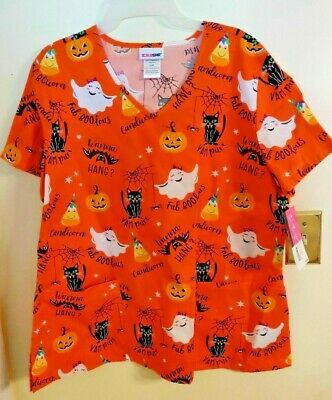 Scrubstar Halloween Scrubs Ghost Cat Bat Pumpkin Candy - Halloween Scrubs