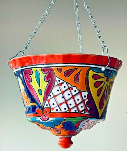 Talavera Planter Pot Hanging Mexican Folk Art Pottery Large