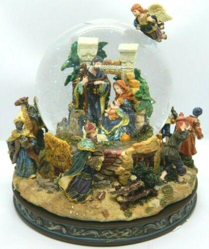 """Nativity Musical Waterglobe Revolving Base Snow Globe """"Little Town Of Bethlehem"""""""