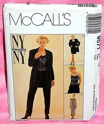 Uncut McCalls Misses Sz 12 Lace Front Dress Top Jacket & Pants Pattern 9571