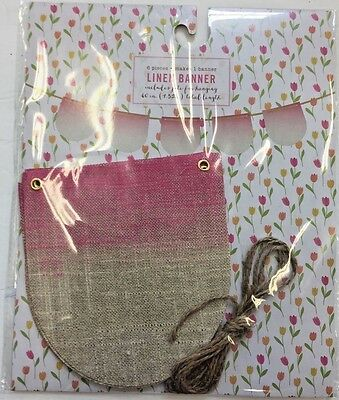 Pink gold Linen Scallop Banner Party Supplies baby shower girls room princess](Baby Princess Party Supplies)