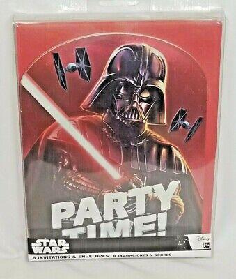 Disney Star Wars Darth Vader 8 Birthday Party Invitations & 8 Red Envelopes Star Wars Birthday Invitations