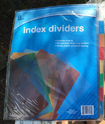 Jot Plastic Standard 3-ring Binder Index Dividers With Tabs Mixed Colors