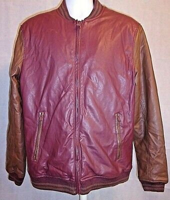 21 Men's All American Brand Maroon & Taupe Leather Jacket Sz XL