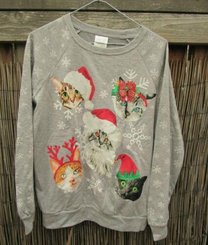 Ugly Christmas Santa Cat Light Up Blinking Gray Sweatshirt by Freeze  Sz  XL