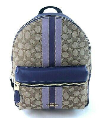 New Authentic Coach F68034 Medium Charlie Backpack  Jacquard Stripe Purple