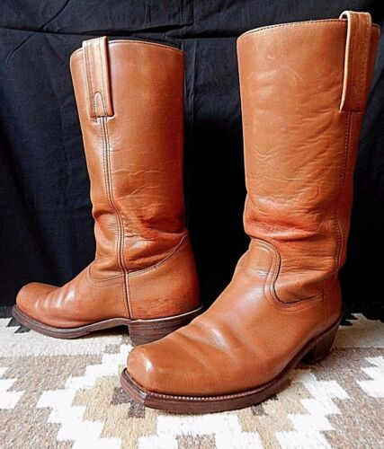 """VINTAGE FRYE STOVEPIPE 14"""" PULL ON CAMPUS/MOTORCYCLE/COWBOY WESTERN BOOTS,SZ 11D"""
