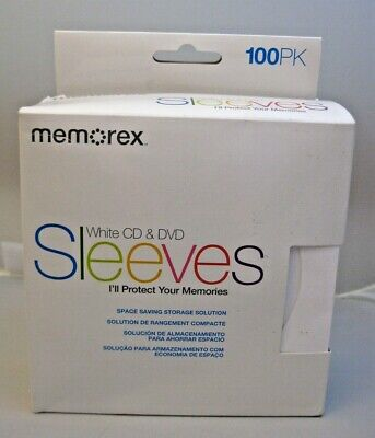 New Memorex White Cd Dvd Protective Paper Sleeves 100 Pack Storage Solution