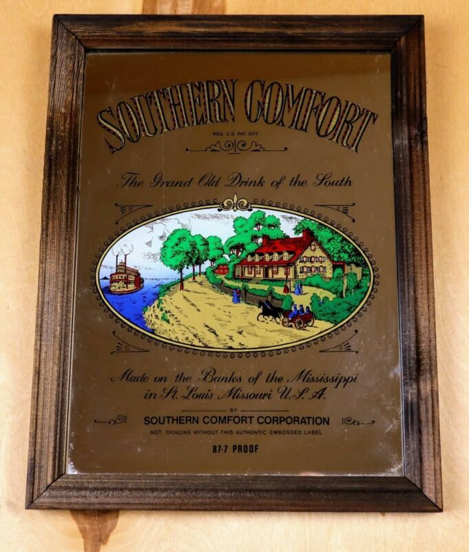 """Vintage Southern Comfort Bar Mirror Wood Frame 13"""" x 10"""" Used - Great Condition"""