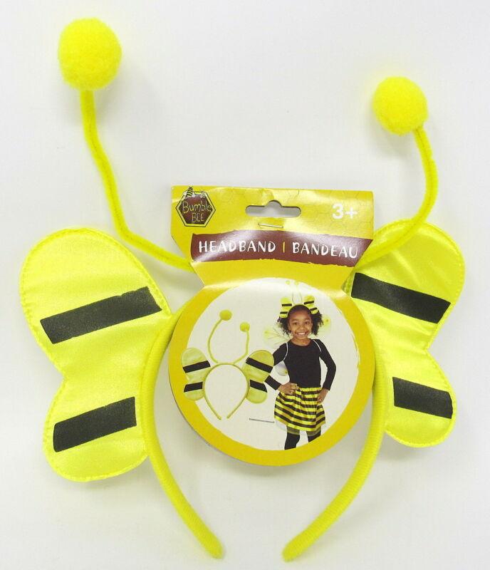 Bee Headband Dress Up Costume Wings Yellow Black Age 3+ Velvet Satin Pretend