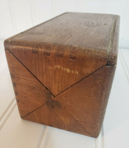 VTG Antique 1889 Sewing Accessory Box Roll Up Wooden 1800s