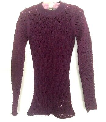 Purple Sweater ACNE STUDIOS XS Marx Short LARGE CABLE KNIT Tunic stretch