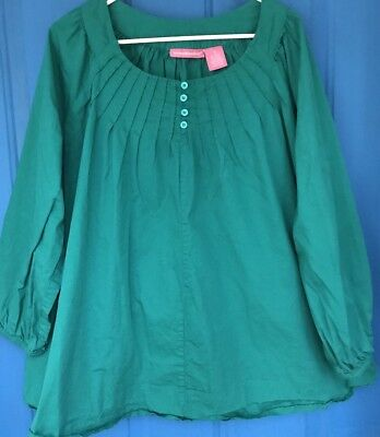 Woman Within Plus Size  1X Waterfall Green Sleeve Cotton Shirt Blouse
