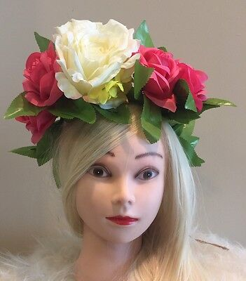 FLOWER HEADBAND CROWN HAIR FLORAL ROSE HALO WREATH EDM FESTIVAL TIARA NEON PINK (Edm Headbands)