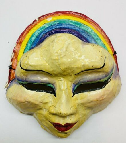 """Vintage Masque Arrayed  Sausalito CA, Hand Made Paper Mache Mask 10"""" X 10.5"""""""