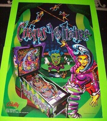 Bally CIRQUS VOLTAIRE 1997 Original Pinball Machine 36 X 24 Promo POSTER Rare