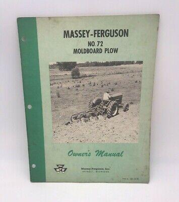 Vintage Massey-ferguson No. 72 Moldboard Plow Owners Manual