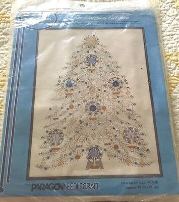 Vintage Paragon RETRO BLUE WHTE CHRISTMAS TREE of PEACE JEWELED Embroidery Kit