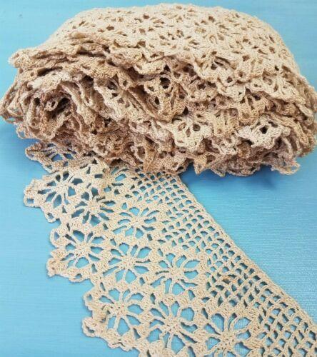 "Antique VTG Crocheted Lace Trim Hand Made 3.25""wide x 4 Yards Ecru Edging Cotton"