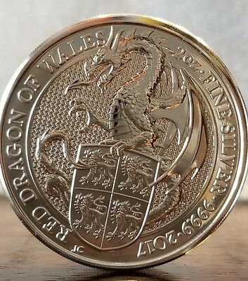 2017 Queens Beast The Red Dragon Wales  2 Oz  9999 Silver Coin 5 Pound Brexit
