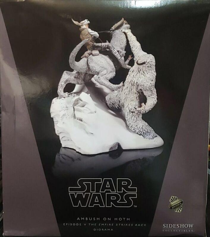 Star Wars Ambush On Hoth Sideshow Wampa vs Luke Massive Diorama Mint In Box