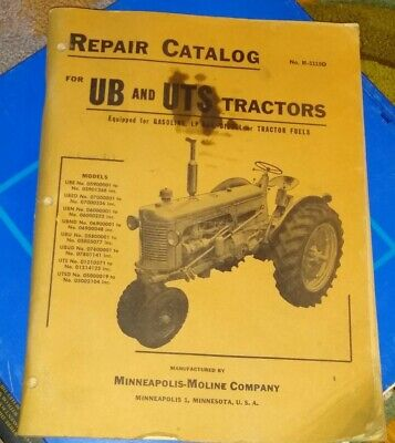 Vintage Minneapolis Moline Repair Catalog Tractors Manhal Ub Uts Shop Stain