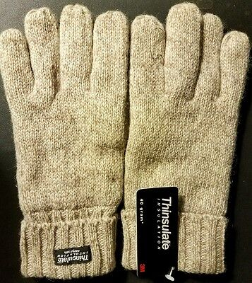 THINSULATE 40G Women's Wool/Leather Knit Winter Wrist Gloves *NWT* (LG or XL)