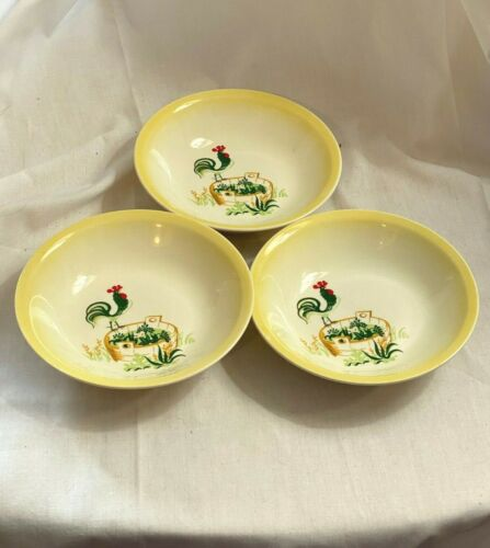 Paden City Provincial Rooster Set of 3 Sauce, Fruit or Dessert Bowls- NEW!