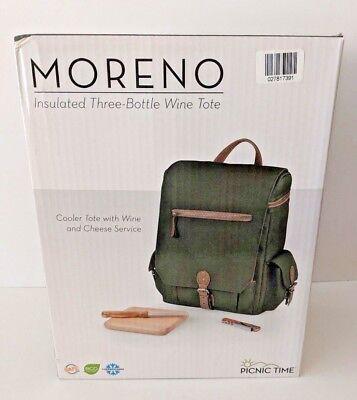 Picnic Time Moreno Insulated Wine Bottle Tote w/Cheese Board/Knife/Corkscrew 184