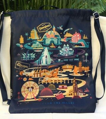 Disney Parks Disneyland Classic Attractions Cinch Backpack w/Side Zipper Pocket