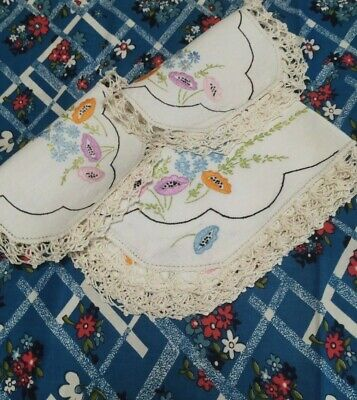 Vintage linen Doilies tray cloth Set x 3 hand embroidered crochet lace edge