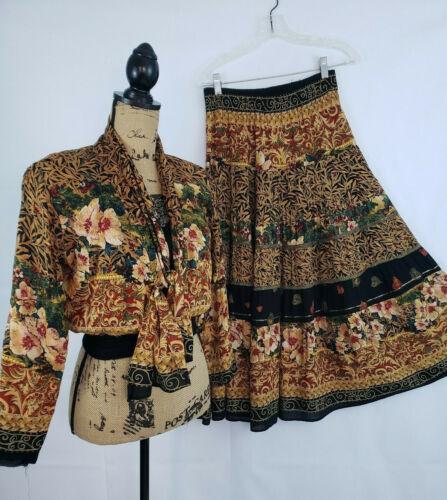 Carole Little Petites 2 Piece Floral Bohemian Full Skirt waist Top size 6/4 L55