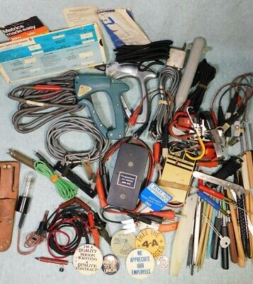Huge Lot 100 Items Telephone Lineman Tool Set Test Wires Parts Papers