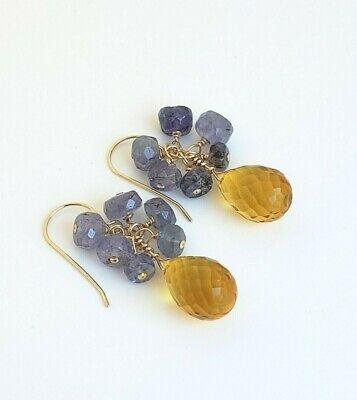14k Yellow Gold Citrine Briolette Tanzanite Cluster Waterfall Dangle Earrings