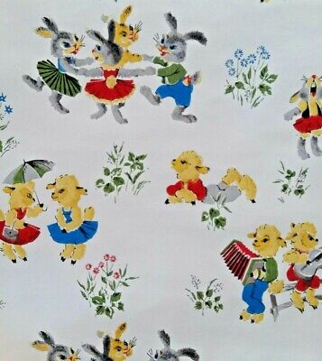 1950s Vintage Wallpaper Childrens Frolicking Bunnies & Lambs One Roll One Lamb Roll