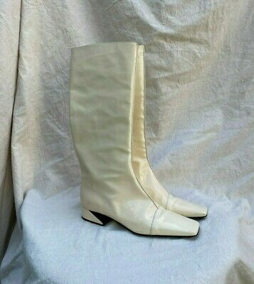 FENDI Beige White Patent Leather Mid Calf Square Toe Flat Heel Pull On Boot 38/8