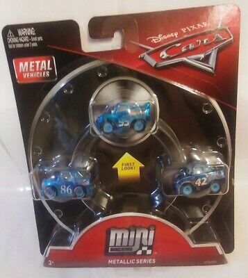 Disney Pixar Cars 3 Pack Mini Blue Racers Metallic Series Lightning McQueen