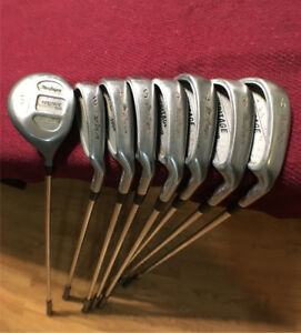 Men's golf club set: 5 wood, 3-9 irons, 2 wedges, right handed.