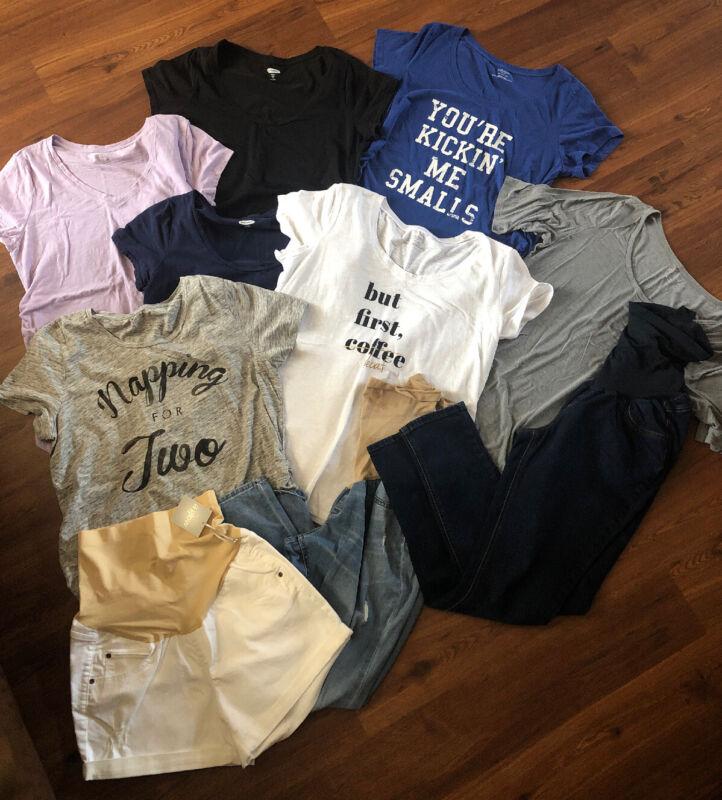 Womens Maternity Clothes Size XL Shirts Shorts Jeans Stylish 10 Pieces EUC