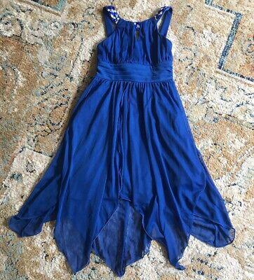 Tween Diva Girls Royal Blue Rhinestone Sleevless Formal Dress Size 7