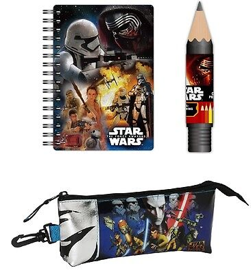Star Wars Licensed A5 Ring Notebook, 8 Colouring Pencils in Tube and Pencil Case](5 Star Pencil Case)