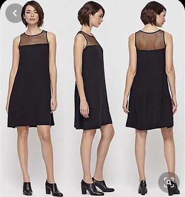 EILEEN FISHER Large Dress Silk Sleeveless A Line Mesh Lace Detail L $350