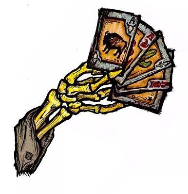 Las Vegas Skeleton Dead Mans Hand Poker Casino Vinyl Decal Sticker Creep Werks