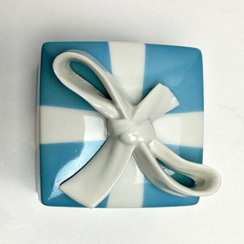 "Vtg 1990 Tiffany & Co 2"" Blue & White Porcelain Jewelry Gift Box"