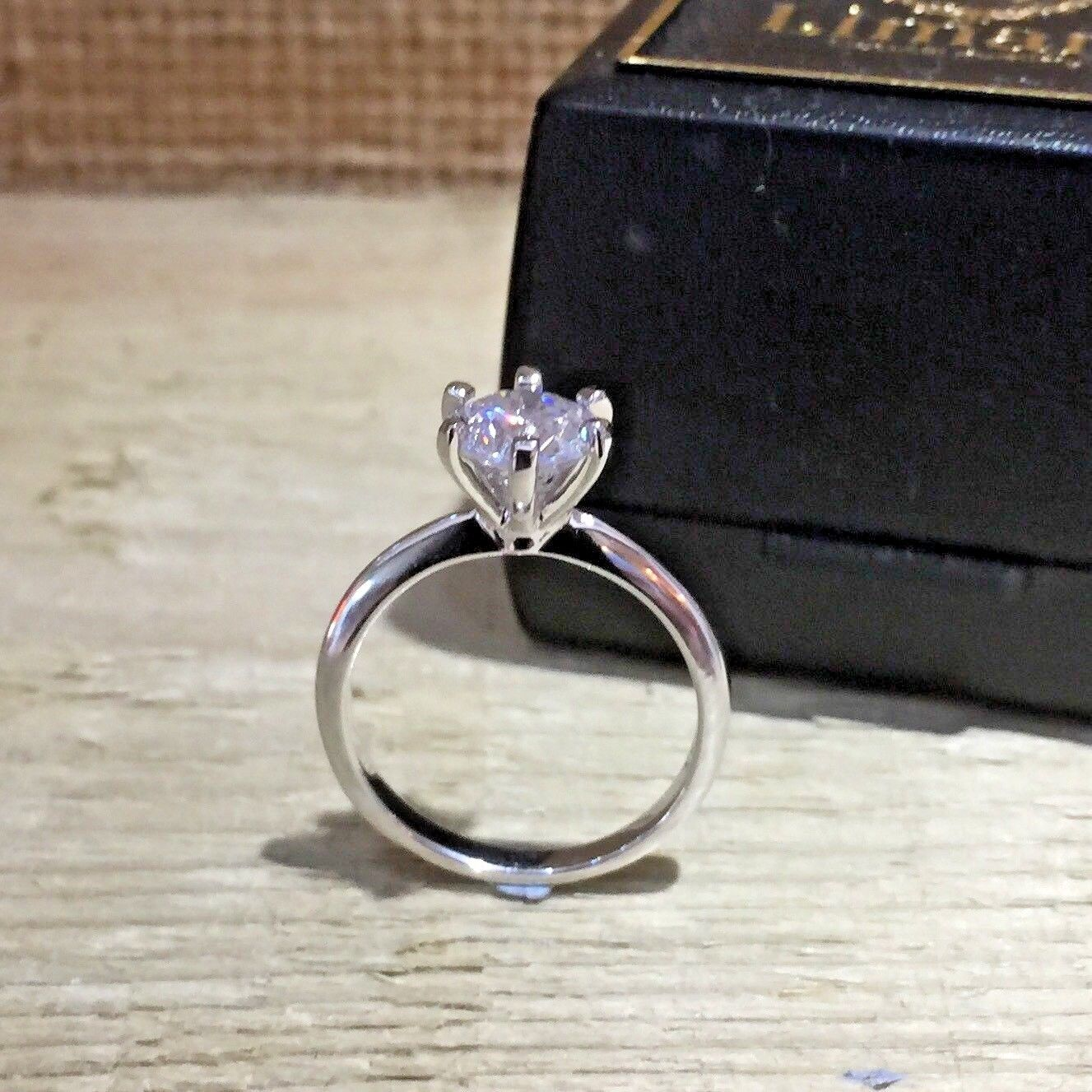 MoAndy 925 Sterling Silver Ring Engagement Created Diamond Ring Engraving Promise Rings for Her