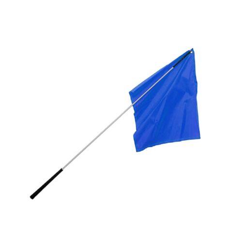 "Flag Training Stick / 48"" Silver Shaft with Royal Blue Flag"