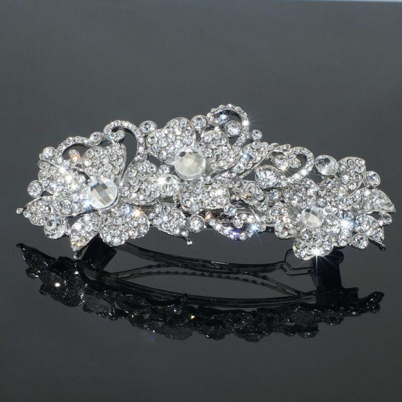 Clear Rhinestone Crystal Flower Barrette Silver Tone Hair Clip Bridal Party Gift