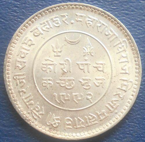 Silver VS1991 (1935) India Princely States KUTCH 5 Kori Khengarji III Nice # 711