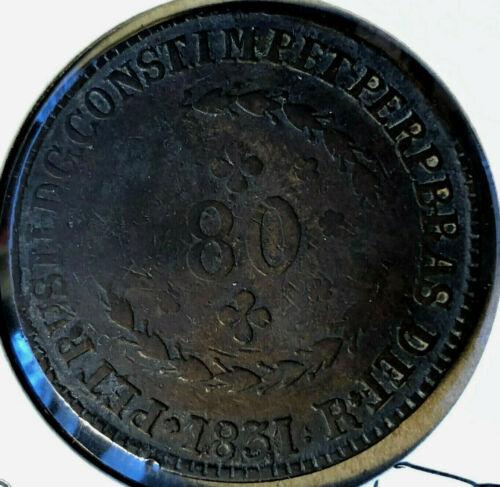 1831-R Brazil 80 Reis, Pedro II Copper Coin VF/XF Condition
